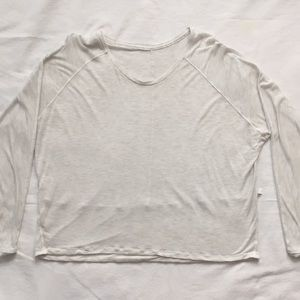 Lululemon 3/4 Sleeve Crop Shirt Light Heather S/M